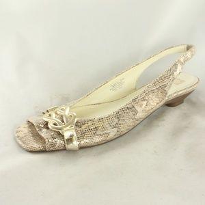 Like New ANNE Klein Snake Print Slingback Low Heel